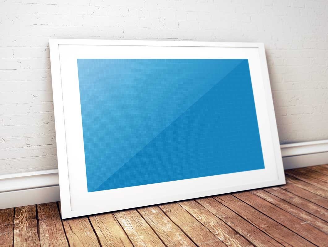 Framed Photo & Inner Bevel Leaning On Wall PSD Mockup