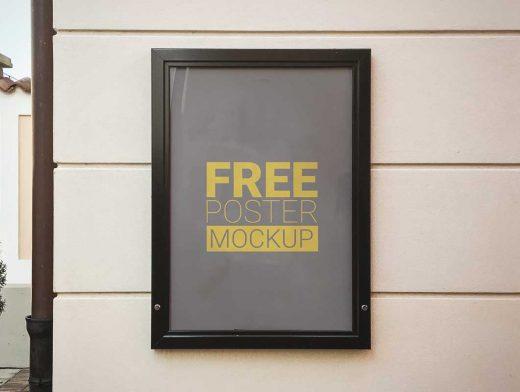 Free 60x40cm Poster PSD Mockup