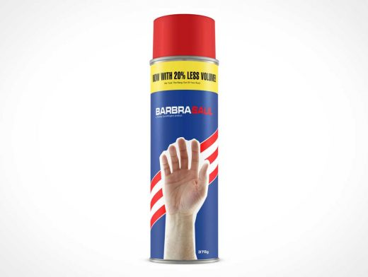 Full-Height Spray Can Front Label PSD Mockup