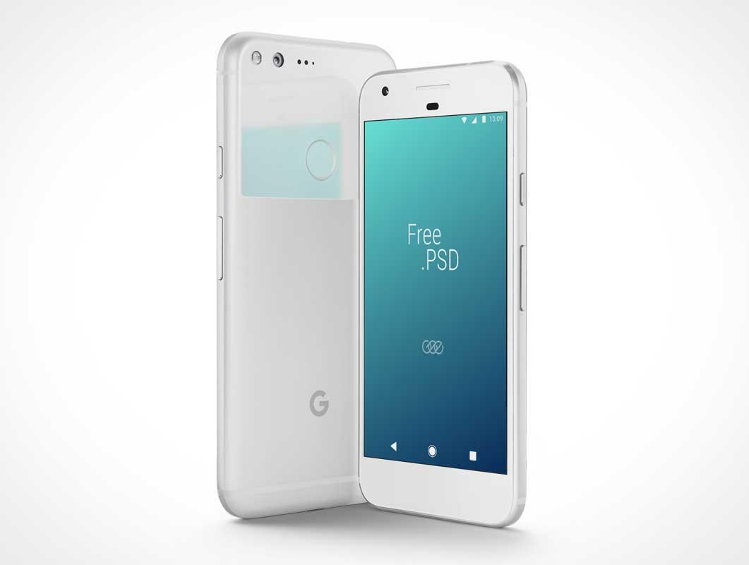 Google Pixel Smartphone Front & Back Covers PSD Mockup