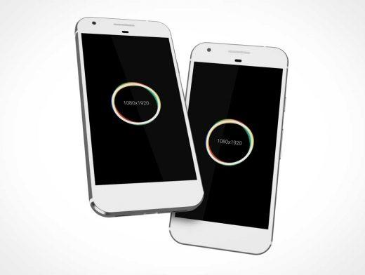 Google Pixel Smartphones Rendered In 3D & Floating PSD Mockup