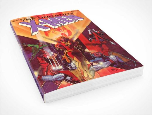 Graphic Novel Low Angle Product Shot PSD Mockup
