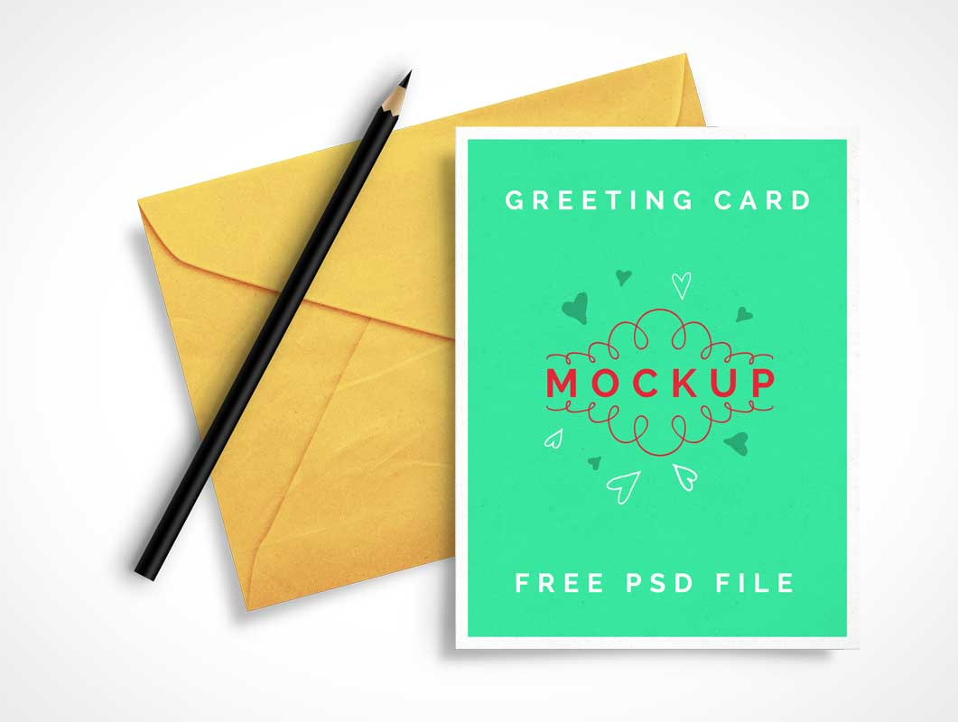 Greeting Card & Envelop PSD Mockup