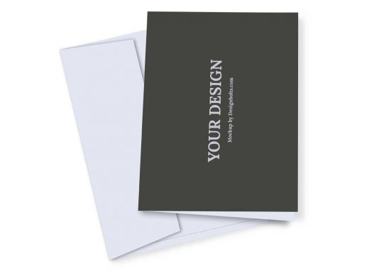 Greeting Card With Envelope Top View PSD Mockup