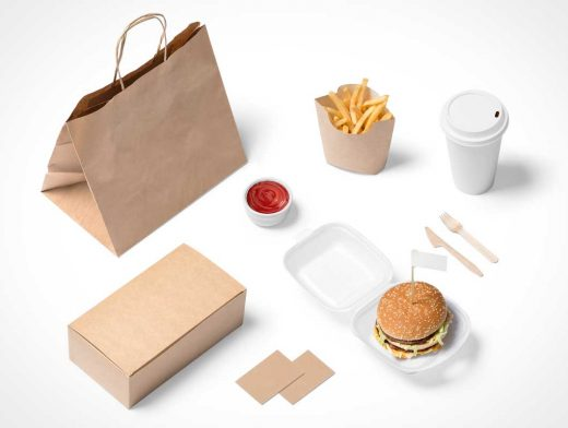 Hamburger Fast Food Takeout Branding PSD Mockup