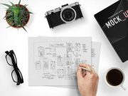 Hand Sketching Prototypes Scene Creator PSD Mockup