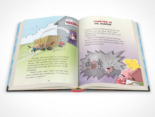 Hardbound Storytime Book Centre Page Spread PSD Mockup