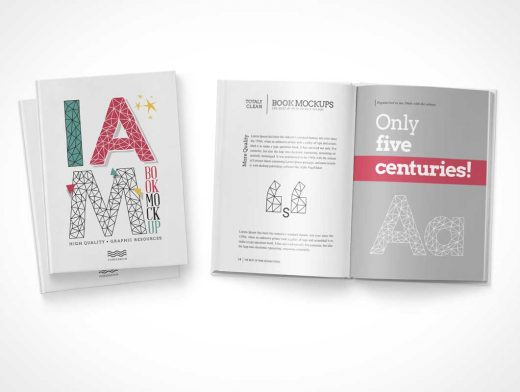 Hardcover Book Front Cover, Left & Right Pages PSD Mockup