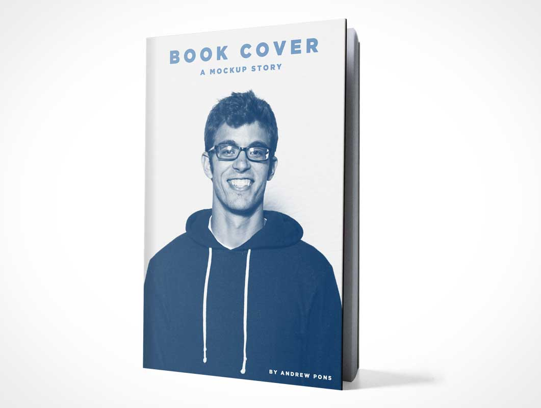 Hardcover Front Standing At Slight Angle PSD Mockup