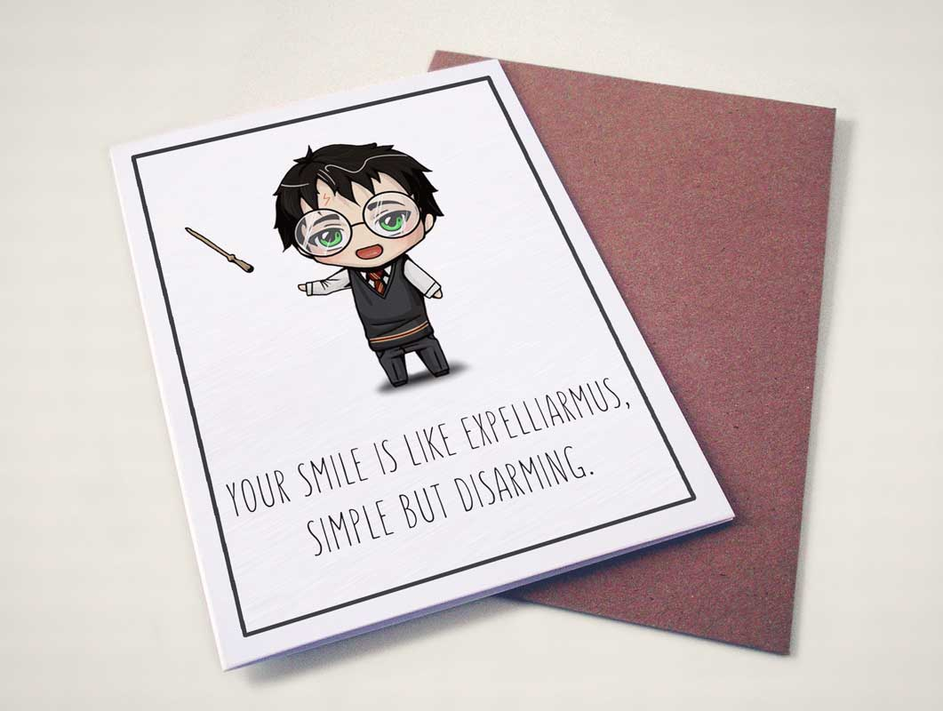 Harry Potter Valentines Greeting Card Psd Mockup