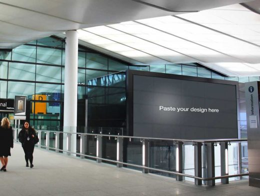 Heathrow Airport Backlit Banner Poster PSD Mockup
