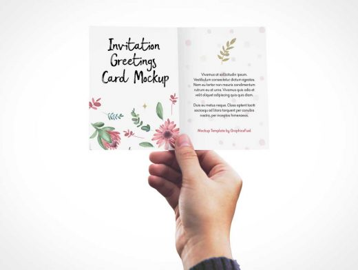Invitation / Greeting Card In Hand PSD Mockup