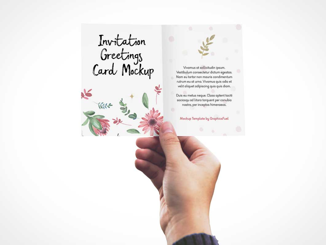 Invitation Greeting Card In Hand Psd Mockup Psd Mockups