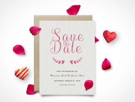 Invitation RSVP Save The Date Card PSD Mockup