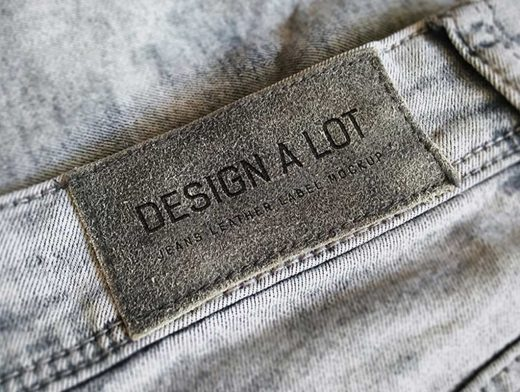 Jeans Leather Branding Label Tag PSD Mockup