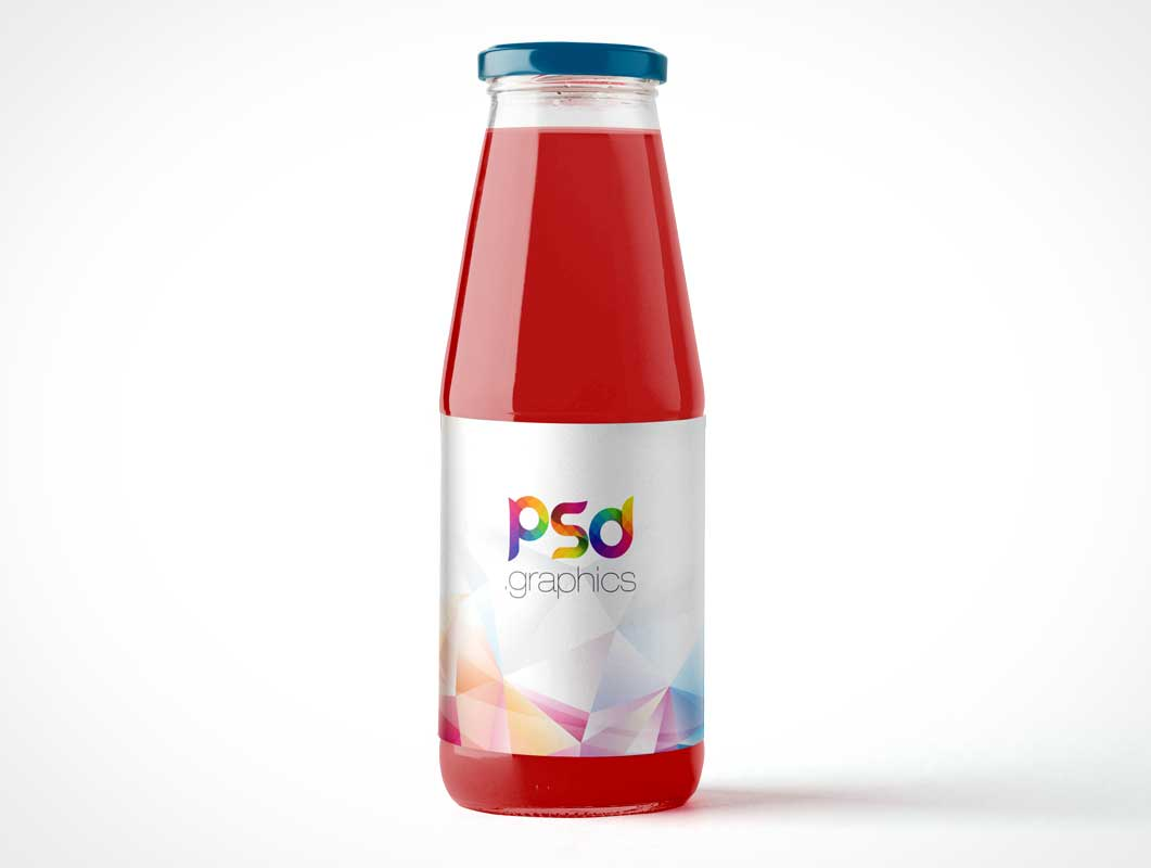 Juice Bottle With Glass Body PSD Mockup