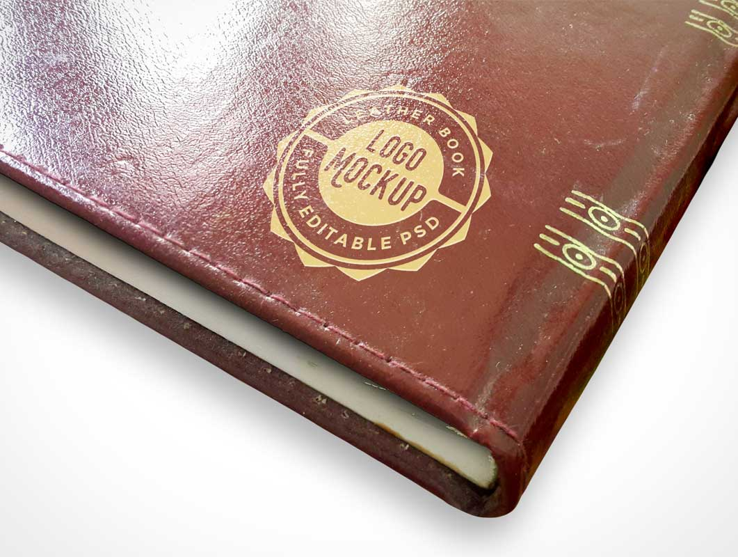 Leather Book With Edge Stitching & Gilded Logo PSD Mockup