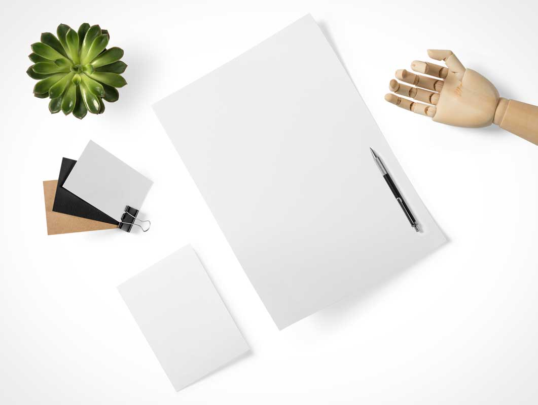Letterhead & Business Card Top View PSD Mockup