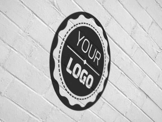 Logo Painted On Brick Wall Effect PSD Mockup
