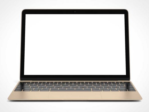 MacBook Air Gold Body Front View PSD Mockup