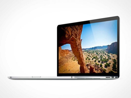 MacBook Pro Screen At 90 Degrees Right Side View PSD Mockup