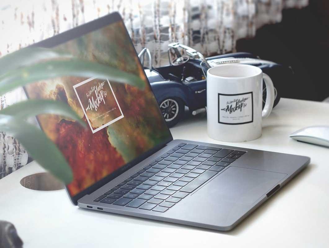 MacBook Screen Mug Home Office Shot PSD Mockup