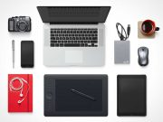 MacBook, Tablet, Smartphone & Accessories Top View Scene PSD Mockup