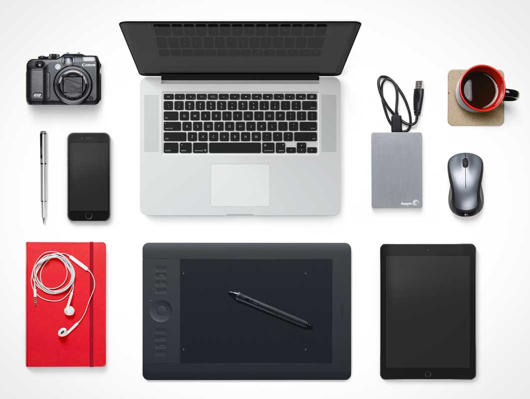 MacBook, Tablet, Smartphone & Accessories Top View Scene PSD Mockup