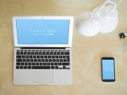 Macbook Front LCD View PSD Mockup