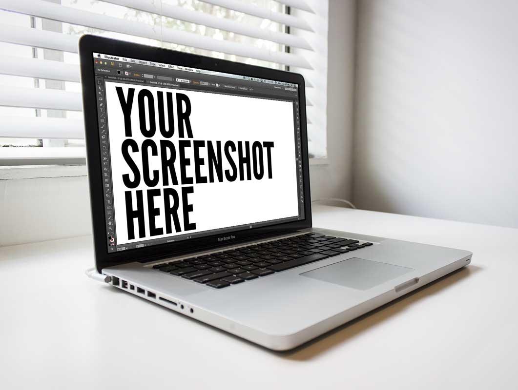 Macbook Pro Screen On White Desk Psd Mockup Psd Mockups