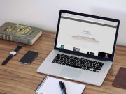 Macbook Workspace & Notebook, Hardcover, iPhone PSD Mockup