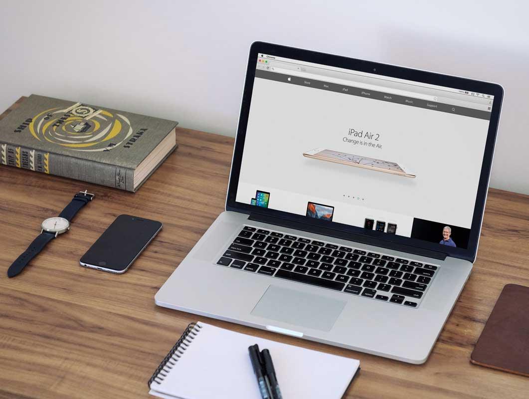 Macbook Workspace & Notebook, Hardcover, iPhone PSD Mockup