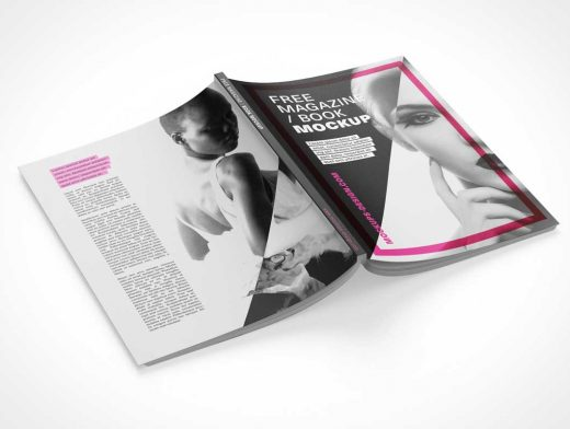 Magazine Proxy Front, Back, Left & Right Side Pages PSD Mockup