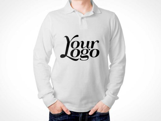 Men's Long Sleeved Polo T-Shirt Front & Back PSD Mockup