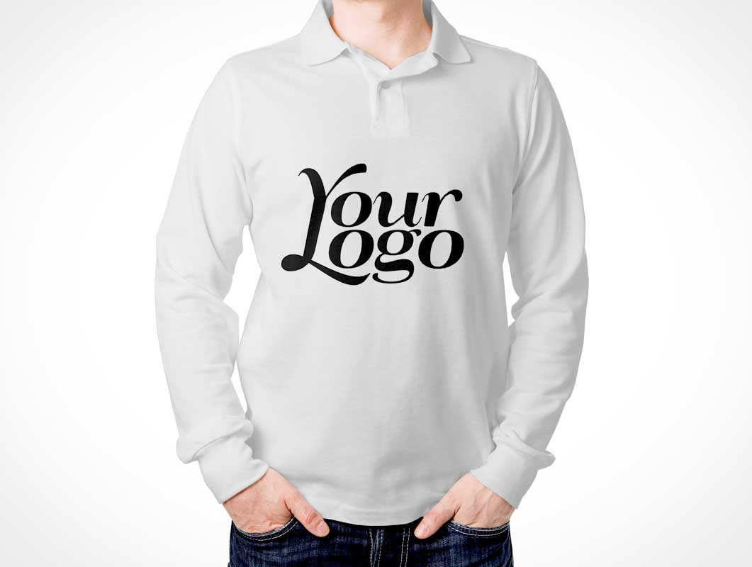 Men 39 s long sleeved polo t shirt front back psd mockup for Free polo shirt mockup psd