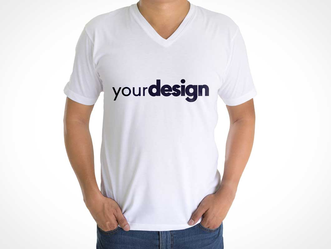 Mens V-Neck Collar T-Shirt Front & Back PSD Mockup