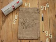 Mini Sack Burlap Canvas Bag With Drawstring PSD Mockup