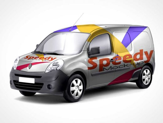Mini Van Delivery Truck Front & Side PSD Mockup