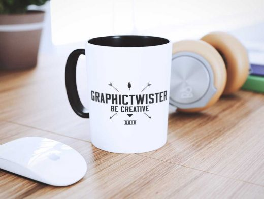 Mug & Headphones Home Office PSD Mockup
