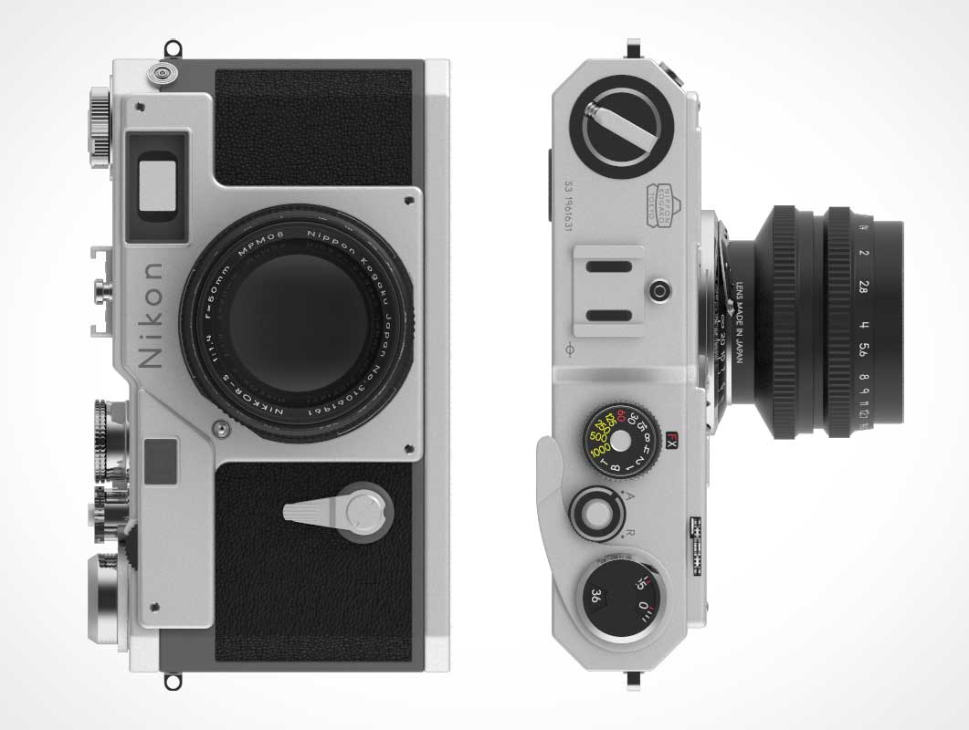 Nikon Film Camera Top & Front View PSD Mockup
