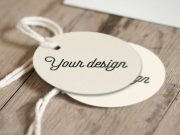 Pair Of Round Label Tags With String PSD Mockup