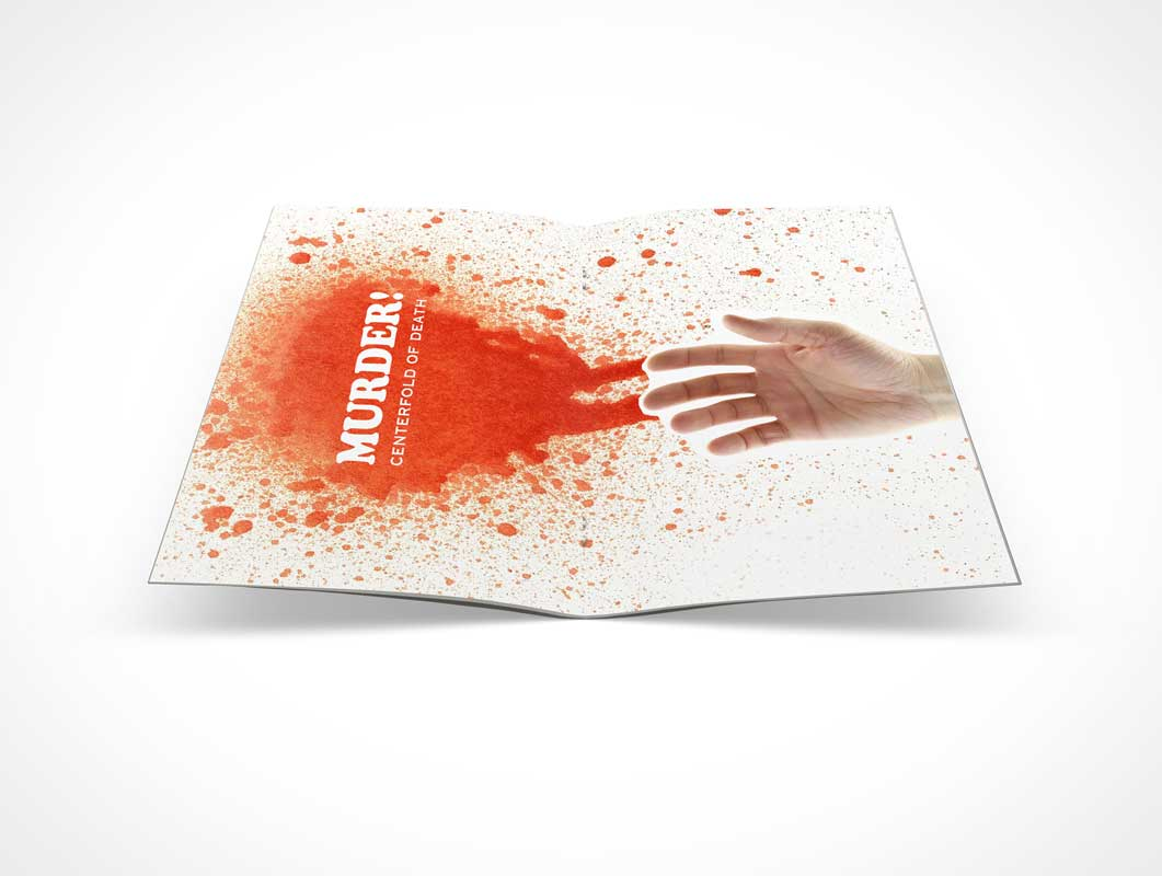 Pamphlet Centerfold On Flat Surface PSD Mockup