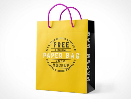 Paper Bag Boutique Shopping With String Carry Handles PSD Mockup