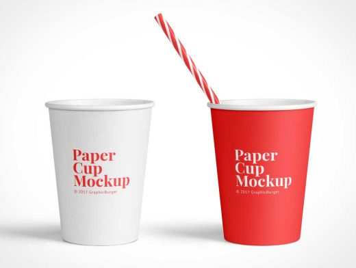 Paper Cup Soft Drinks & Straws PSD Mockup
