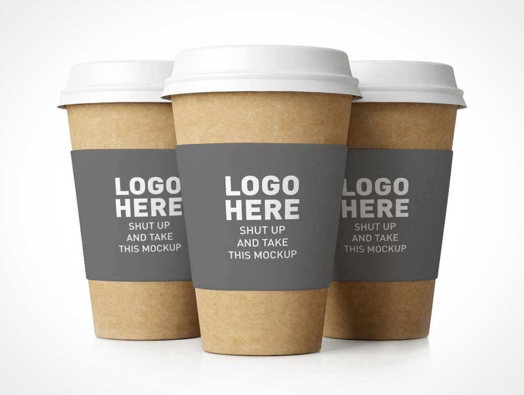 Paper Cups With Recycled Materials PSD Mockup