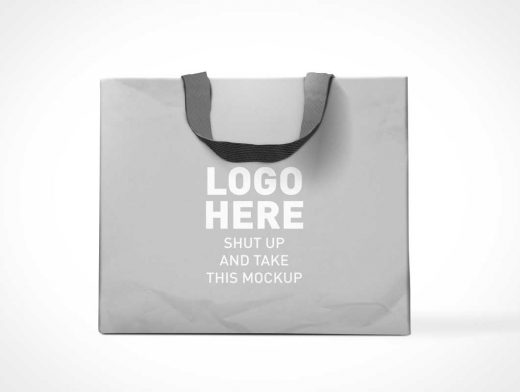 Paper Shopping Bag With Fabric Carry handle PSD Mockup