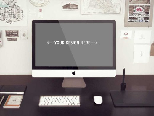 Photorealistic iMac Workspace PSD Mockups
