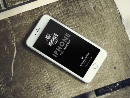Photorealistic iPhone 6 Top Down View PSD Mockup