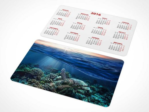 Pocket Calendar & Business Card PSD Mockup