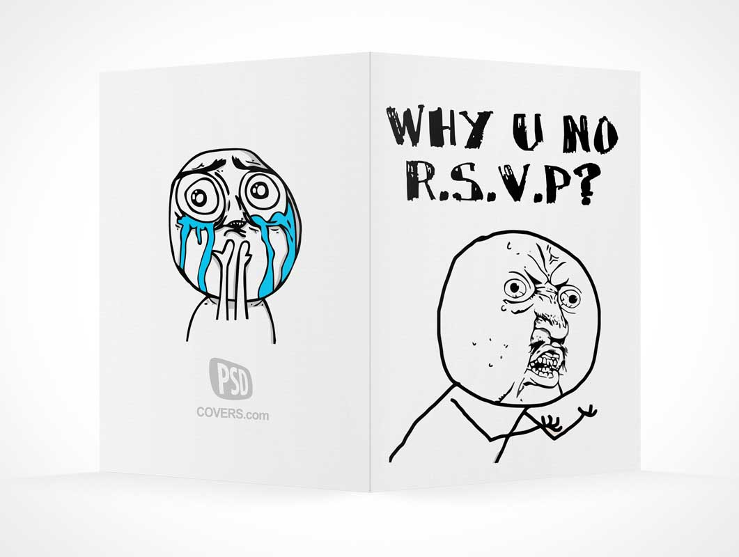 RSVP Card Front & Back Covers PSD Mockup